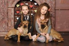 Twee zustermeisjes met puppy Royalty-vrije Stock Afbeeldingen