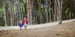 Twee zusters die een gang in het hout hebben Royalty-vrije Stock Afbeelding