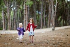 Twee zusters die een gang in het hout hebben Stock Foto's