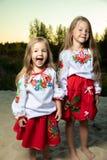 Twee zusters in etnische Oekraïense kostuums in de weide, portret, vriendschapsconcept, kinderen royalty-vrije stock fotografie