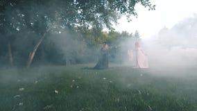 Twee zusters van een sprookje worden vijanden in een ogenblik vóór de oorlog tussen kwaad in zwart en goed in witte elegant stock videobeelden