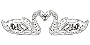 Twee zwanen zentangle stileerden, illustratie, vector, uit de vrije hand pen Stock Foto