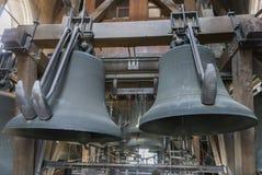 Twee zware klokken bij de carillon van de Klokketoren van Gent. royalty-vrije stock afbeelding
