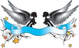 Twee zwart-witte engelen Royalty-vrije Stock Fotografie