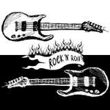Twee zwart-witte gitaren, Royalty-vrije Stock Afbeelding