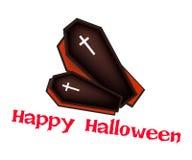 Twee Zwarte Doodskisten met Word Gelukkig Halloween Royalty-vrije Stock Afbeeldingen