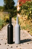 Twee zwarte en grijze flessen op de weg van de tegels, het dorp, landelijk alcoholisme, dronkenschap alcoholische ziekte natuurli stock foto