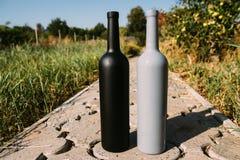 Twee zwarte en grijze flessen op de weg van de tegels, het dorp, landelijk alcoholisme, dronkenschap alcoholische ziekte natuurli stock afbeeldingen