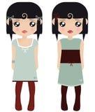 Twee Zwarte Haired Vrouwelijke Doll van het Document Royalty-vrije Stock Afbeelding