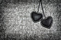 Twee zwarte harten stock foto