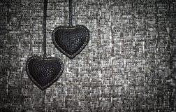 Twee zwarte harten royalty-vrije stock foto's