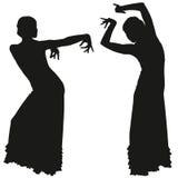 Twee zwarte silhouetten van vrouwelijke flamencodanser vector illustratie