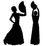Twee zwarte silhouetten van vrouwelijke flamencodanser Royalty-vrije Stock Afbeelding