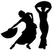 Twee zwarte silhouetten van vrouwelijke flamencodanser Stock Afbeeldingen