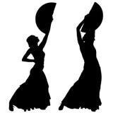Twee zwarte silhouetten van vrouwelijke flamencodanser Stock Foto's