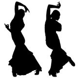Twee zwarte silhouetten van vrouwelijke flamencodanser Royalty-vrije Stock Foto's
