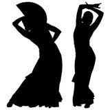 Twee zwarte silhouetten van vrouwelijke flamencodanser Stock Foto