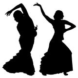 Twee zwarte silhouetten van vrouwelijke flamencodanser stock illustratie