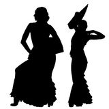 Twee zwarte silhouetten van vrouwelijke flamencodanser Royalty-vrije Stock Fotografie