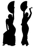 Twee zwarte silhouetten van vrouwelijke flamencodanser Stock Fotografie