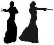 Twee zwarte silhouetten van vrouwelijke flamencodanser Royalty-vrije Stock Foto