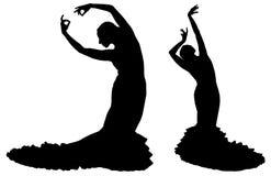 Twee zwarte silhouetten van vrouwelijke flamencodanser Stock Afbeelding