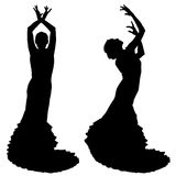 Twee zwarte silhouetten van vrouwelijke flamencodanser Royalty-vrije Stock Afbeeldingen