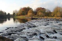 Tweed del río, Escocia en otoño Fotos de archivo