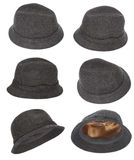 Tweed hat collection Stock Photos