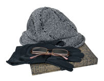 Tweed Hat Gloves Glasses Book Royalty Free Stock Image