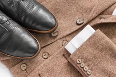 Tweed jacket with its details of buttons Stock Photo