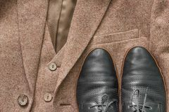 Tweed jacket with its details of buttons. And accessories Stock Photography