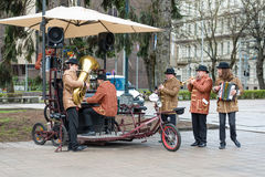 Tweed ride 2017.  Bicycle Orchestra event during the opening play music and sing songs. Stock Photography