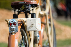 Tweed ride 2017. Here you can look at an old BMW brand of motor bike. Selective focus photography. RIGA LATVIA - APRIL 22 2017: Tweed ride 2017. Here you can Stock Photos