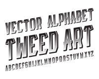 TweedArt Vector stilsort Mönstrad stilsort för svart Isolerat engelskt alfabet Vektor Illustrationer