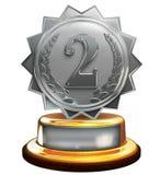 Tweede plaats zilveren toekenning, nummer twee, het knippen masker Royalty-vrije Stock Fotografie