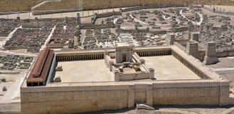 Tweede Tempelmodel van oud Jeruzalem - Israël Stock Foto