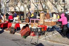 Tweedehandse vlooienmarkt uitstekende retro, Lissabon Stock Foto