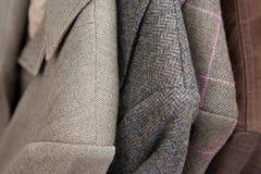 Tweedjacke-Detailnahaufnahme Stockfotos