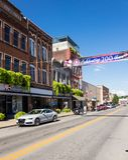 Tweehonderdjarige banner in Main Street Buckhannon WV Stock Afbeelding