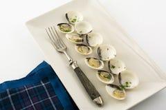 Tweekleppige schelpdieren in witte wijn en peterselie in rechthoekige plaat Stock Fotografie