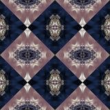 Tweekleurig naadloos patroon met spiraal en bloemblaadjesornament U c royalty-vrije stock foto's