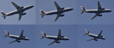 Tweeling de omloopmotorvliegtuig die van de motor superjet hoog-omleiding in verschillende posities vliegen Stock Fotografie