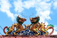 Tweeling draak op het dak Royalty-vrije Stock Afbeelding