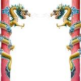 Tweeling Gouden Chinese Draak Royalty-vrije Stock Afbeelding