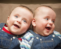 Tweeling jongens in overall het glimlachen Royalty-vrije Stock Foto's