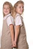 Tweeling verticale de holdingshanden van schoolmeisjes achter royalty-vrije stock afbeelding