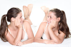 Tweeling zusters Stock Afbeeldingen