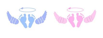 Tweelingbaby Babymeisje, jongen Engelen` s vleugels vector illustratie