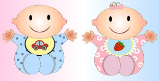 Tweelingbabyjongen en Girl.Vector-illustratie Twee stock illustratie